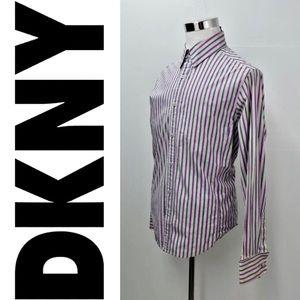 DKNY JEANS Dress Shirt Size L Candy Striped